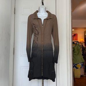 Desigual Tan Tie Dye Zipper Jacket Dress